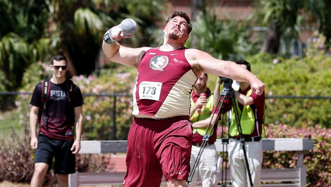 Austin Droogsma launches the shot put at a recent meet. The Gulf Breeze High graduate and Florida State junior is currently ranked No. 3 nationally in shot put and No. 33 in discuss in NCAA Division I.