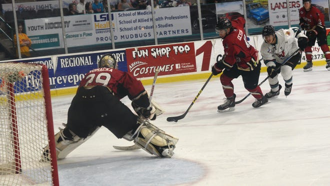 Corpus Christi goaltender Tomas Vomacka has one shutout and two victories in two starts in the first round of the playoffs against the Shreveport Mudbugs.