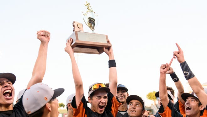 Superior celebrates their AIA Div 1A Baseball State championship win on Saturday, May 13, 2017, at Surprise Stadium in Surprise, Ariz.
