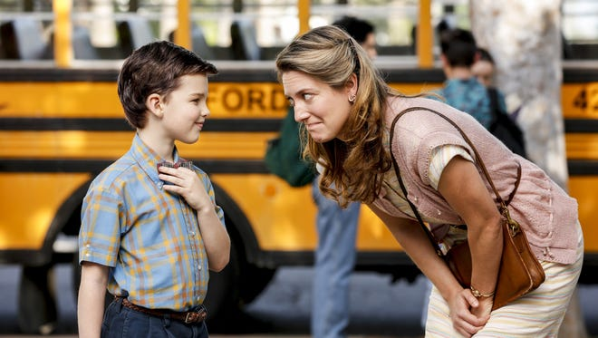 Iain Armitage as Sheldon and Zoe Perry as Mary on 'Young Sheldon.'