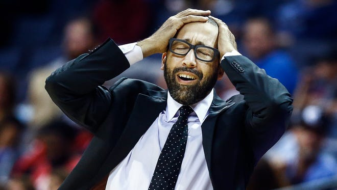 Memphis Grizzlies head David Fizdale reacts to an officials foul during action against the New Orleans Pelicans at the FedExForum in Memphis, Tenn., Friday, October 13, 2017.