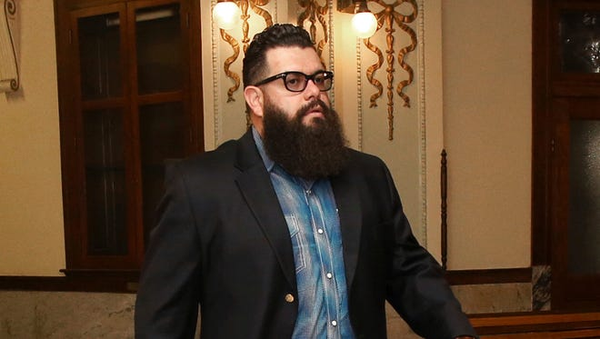 "Jacob Carrizal, the first biker to be prosecuted for his alleged role in the May 17, 2015, Twin Peaks shootout heads to court Wednesday Oct.11, 2017, in Waco, Texas. Jury selection began this week in the first of those trials, against Bandidos Dallas chapter president Christopher ""Jake"" Carrizal for leading and engaging in organized criminal activity.  (Jerry Larson/Waco Tribune-Herald via AP)"