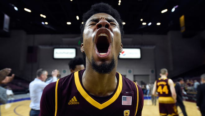 LAS VEGAS, NV - NOVEMBER 24:  Shannon Evans II #11 of the Arizona State Sun Devils reacts after the team won the championship game against the Xavier Musketeers during the 2017 Continental Tire Las Vegas Invitational basketball tournament at the Orleans Arena on November 24, 2017 in Las Vegas, Nevada. Arizona State won 102-86. (Photo by David Becker/Getty Images)