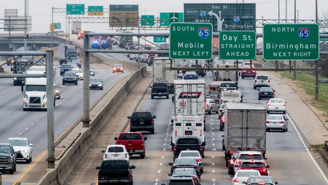 Traffic backs up on I-85 souythbound after the I-65 sounthbound ramp was closed following a morning accident in Montgomery, Al., on Tuesday January 16, 2018.