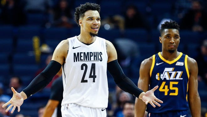 Memphis Grizzlies guard Dillion Brooks reacts after being tossed from the game during fourth quarter action against the Utah Jazz at the FedExForum in Memphis, Tenn., Wednesday, February 7, 2018.