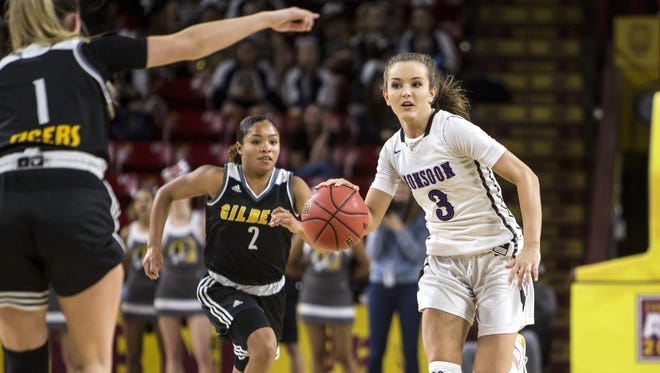 Valley Vista's Taylor Chavez drives downcourt against Gilbert in the second half of the 6A girls basketball semifinal on Wednesday, Feb. 21, 2018 at Wells Fargo Arena.