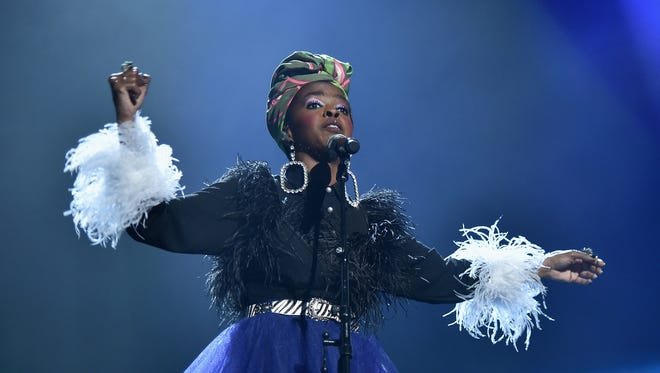 Lauryn Hill pays tribute to Nina Simone at the 2018 Rock and Roll Hall of Fame ceremony.