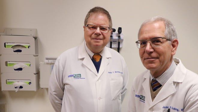 Dr. John Lubing (right) and Dr. Randy Mathews will be retiring within the month. The two went into medical practice together following their medical residence at the same facility.