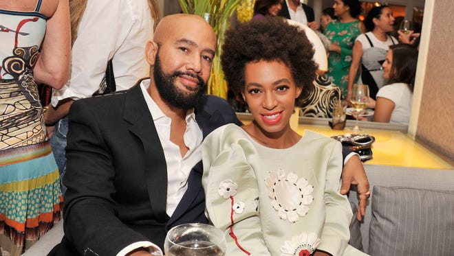 "Alan Ferguson and Solange Knowles attend the after party for the New York Premiere of ""Blue Jasmine"" at Harlow on July 22, 2013 in New York City."