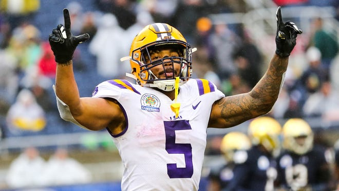 Jan 1, 2018; Orlando, FL, USA; LSU running back Derrius Guice celebrates after scoring a touchdown against Notre Dame in the Citrus Bowl.