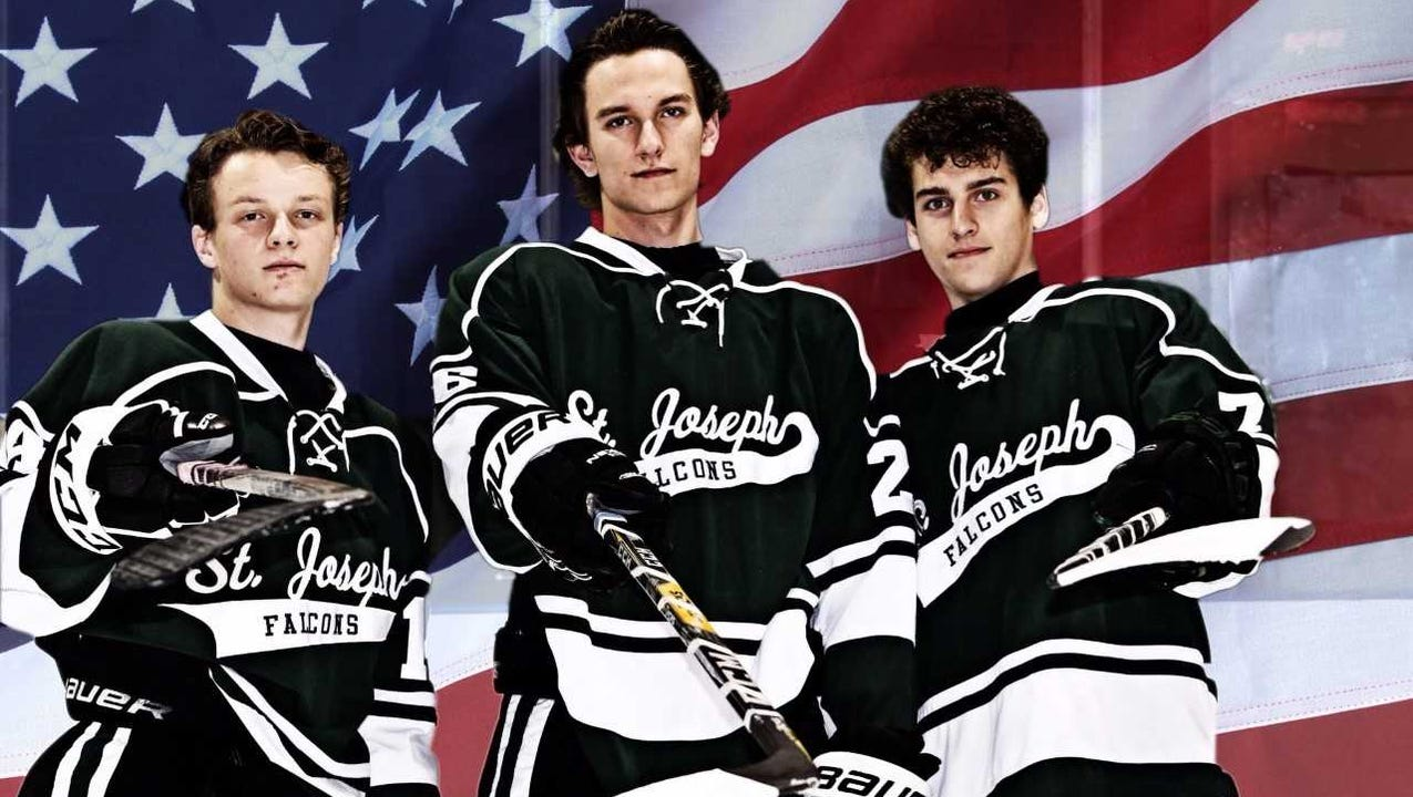 St. Joseph High School ice hockey team pays tribute to those who protect and serve and honor a hero police officer