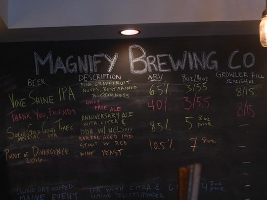 Magnify's beer menu.
