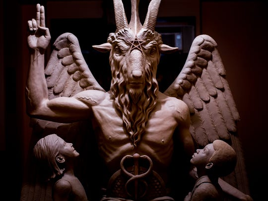 The $100,000 Baphomet statue depicts Satan as a winged,