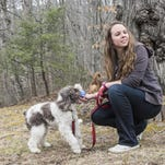 Justine Hergert and recent client/guest Charlie play ball at Hergert's Black Mountain home.
