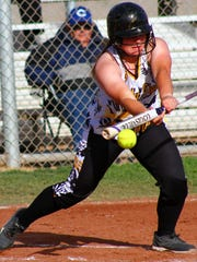 Alamogordo senior Breanna Jacob attempts to lay down a bunt during the bottom of the fifth inning Tuesday afternoon.