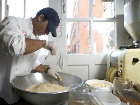 Mark Bove makes meatballs at Bove's Restaurant on Pearl