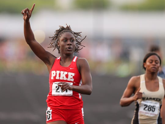 Pike senior Lynna Irby reacts as she places first in
