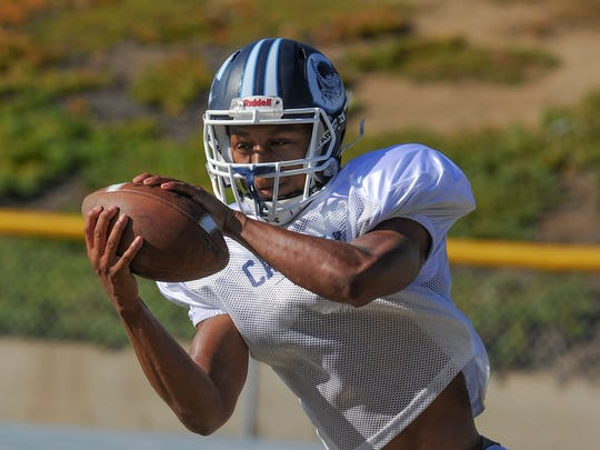 Jonah Cottrell, who stars as the point guard for the basketball team, has made an impact in his first season playing football at Camarillo High, catching 24 passes for 402 yards and six touchdowns.