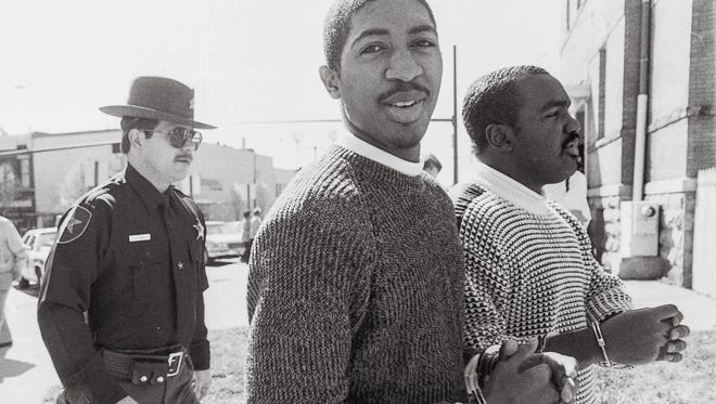 William Bell, left, and Kevin Young are escorted into the Anderson County Historic Courthouse in Anderson on March 14, 1989. Bell was sentenced to death on March 20, 1989 and Kevin Young received the death sentence for being involved in the September 1988 killing Dennis Hepler, the principal at West Franklin Street Elementary. Bell may now be eligible for parole, after a recent ruling that he didn't have the mental capacity to be sentenced to death.