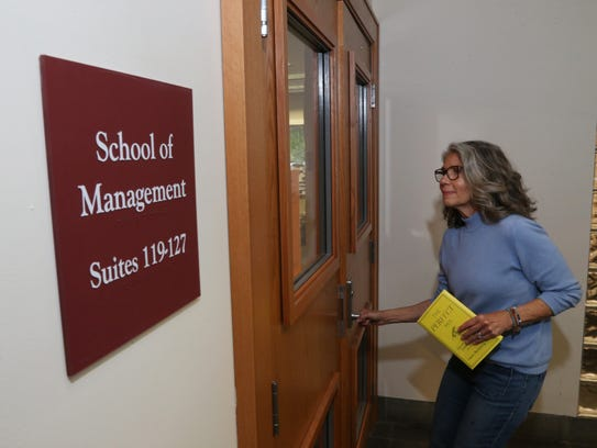 Helen Rothberg outside the Marist College School of