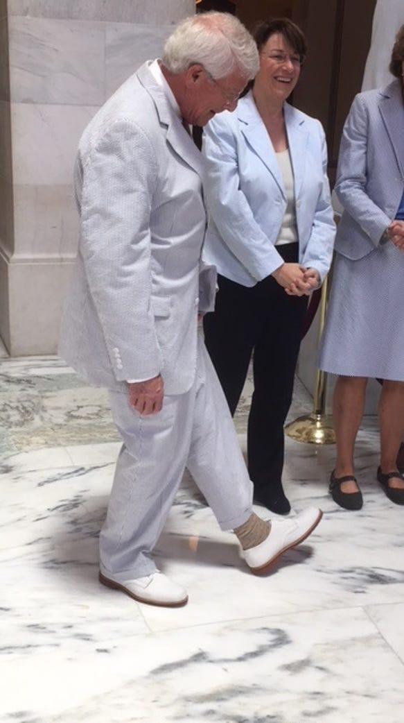 Sen. Roger Wicker, R-Miss., showed off the white bucks
