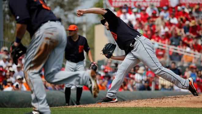 Detroit Tigers starting pitcher Matt Boyd delivers a pitch against the St. Louis Cardinals on March 18, 2016, in Jupiter, Fla.