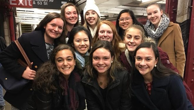 Mount Saint Mary Academy students who attended the second Annual Women in Finance Symposium at Wells Fargo in New York City include Elizabeth Cappucci, Emma King, Natalie Vogel, Katie Metzger (back row), Sophia Wan, Madeline Branthover, Grace Gordon (middle row) and Gianna Laura, Jennah Santiago, Allison Lipkin (front row).
