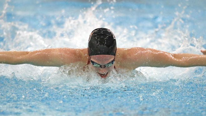 Senior Annah Van Gheem is a leg on two of De Pere's state-qualifying relays. The Butler University recruit was one of three swimmers to hold the school record in the 50 freestyle at some point this season.
