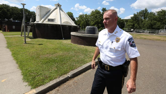Suffern Police Chief Clarke Osborn at the village's water treatment plant Aug. 7, 2015. A human fetus was found in a grit gate at the plant.