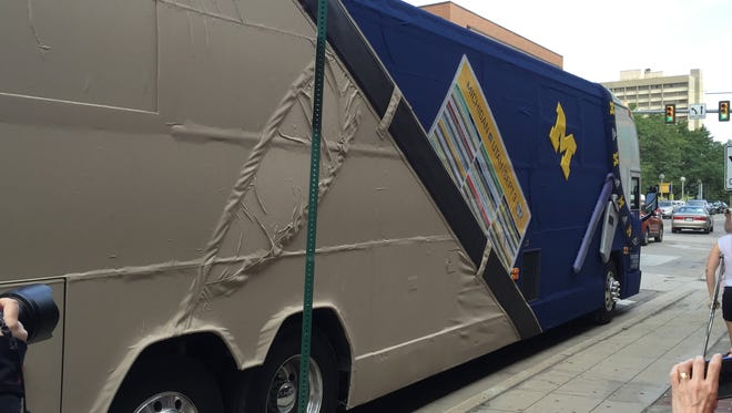 Fox Sports' Jim Harbaugh bus from the side