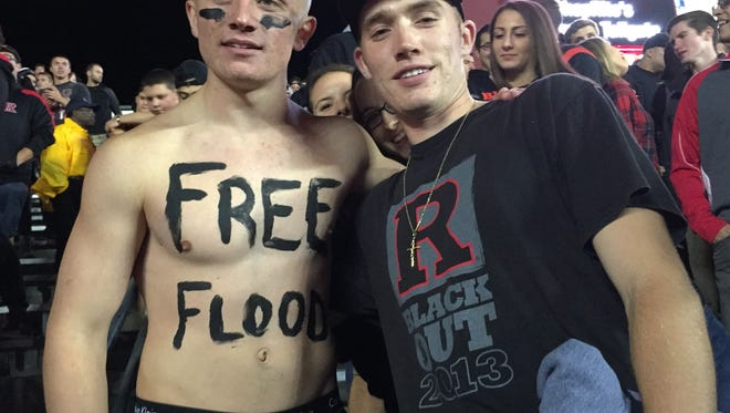 """Rutgers student-fans were fired up for Saturday's """"blackout"""" vs. Michigan State."""