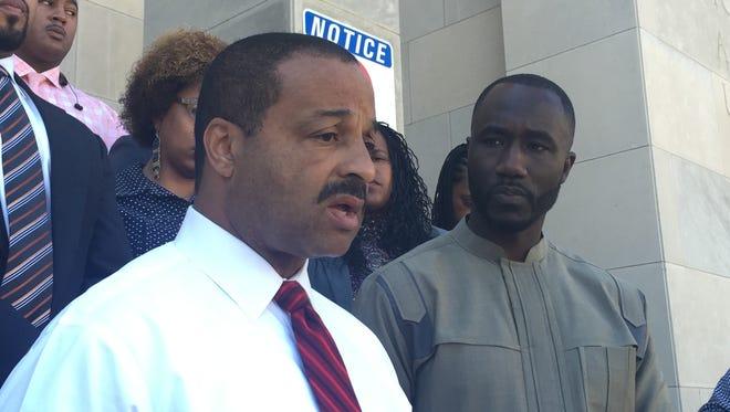 Jackson Police Department Chief Lee Vance and Mayor Tony Yarber address reporters Sunday morning.