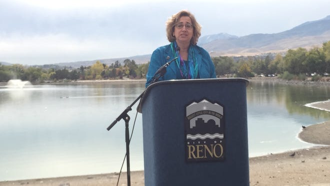 Reno Councilwoman Naomi Duerr speaks at a news conference about the pipeline for Virginia Lake. Duerr said the pipeline should help with the water quality, which in recent years has become fairly toxic in recent years.