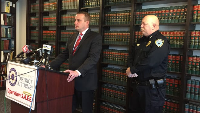 Broome County District Attorney Stephen Cornwell, left, announces Operation SAFE to get drug addicts into treatment. He's joined by Cooperstown Police Chief Mike Covert, who launched a similar effort in November.