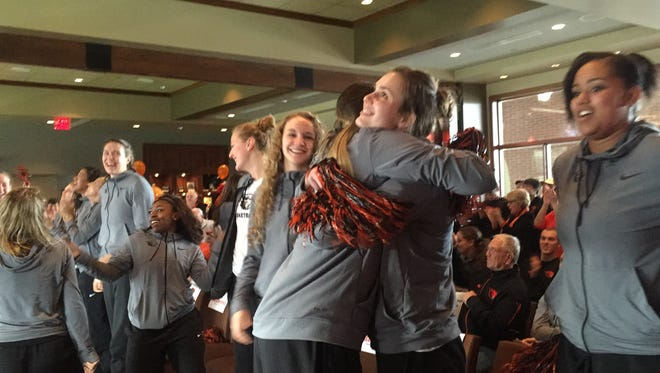 The Oregon State women's basketball team celebrates their selection in the NCAA tournament. The Beavers are seeded No. 2 in the Dallas Region.
