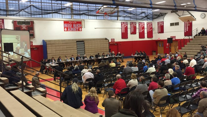 The public attends a Ocean Township Zoning Board hearing for a Talmudic Academy on April 5.