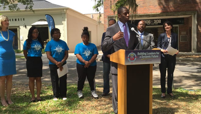 In an April news conference, Tallahassee Mayor Andrew Gillum announces local businesses will take part in his summer jobs program Tallahassee Future Leaders Academy.