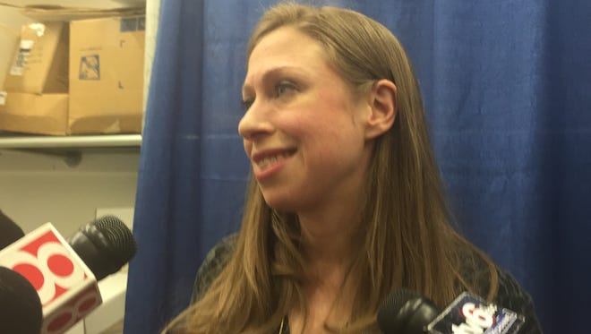 Former first daughter Chelsea Clinton stumps in Indianapolis for her mothers campaign on Friday.
