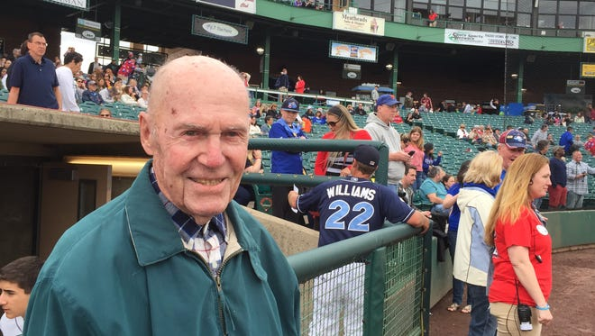 Lakewood resident Tom Fennell, 105, threw out the first pitch before Sunday's BlueClaws game.