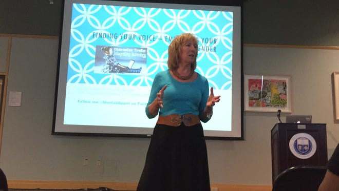 """Sheila Appel, regional director, corporate citizenship, speaks at """"A Day of Women in Tech"""" at Ulster County Community College in Stone Ride Saturday."""