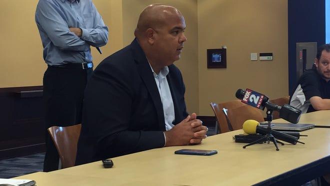 U-M athletic director Warde Manuel addresses reporters on Aug. 23, 2016 in Ann Arbor.
