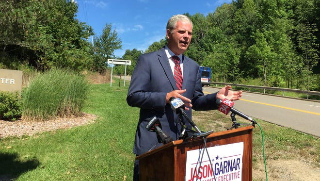 Jason Garnar, the Democrat candidate for Broome County Executive, speaks Tuesday about his plans to tackle the heroin epidemic, if elected.