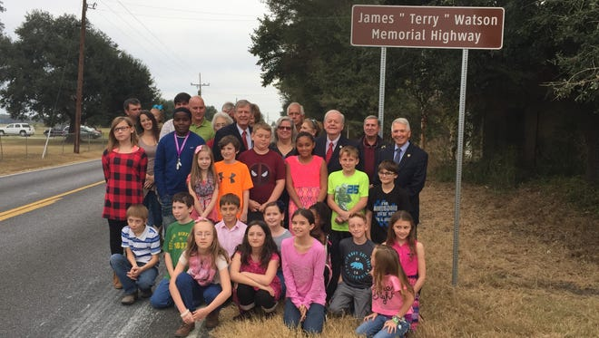 """A portion of Louisiana 183 was named the James """"Terry"""" Watson Memorial Highway on Monday in honor of a fallen DEA agent. A class at Holly Ridge Elementary contacted their state representative to request that the Holly Ridge native be honored."""