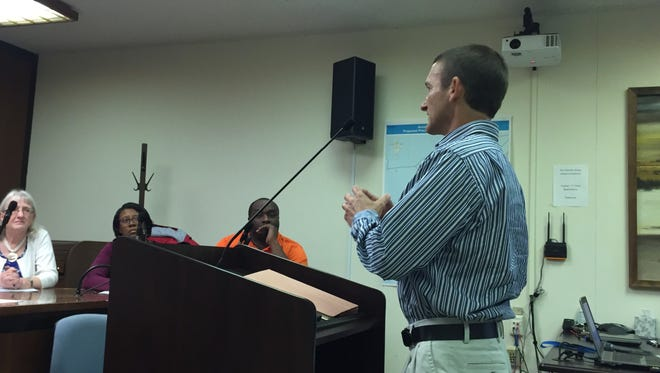 Jesse Speidel addresses the Accomack County School Board Selection Commission on Tuesday, May 23, 2017 in Accomac, Virginia.