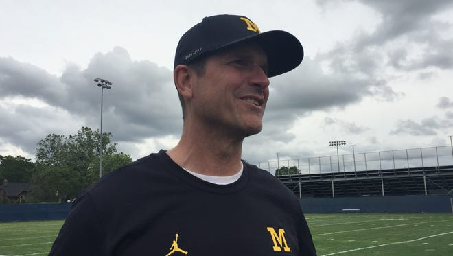 Michigan coach Jim Harbaugh after the U-M elite camp on June 23, 2017.