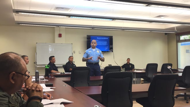 Police chief Joseph I. Cruz speaks to POST Commission members about proposed physical fitness standards for peace officers at a commission meeting on Aug. 3, 2017.
