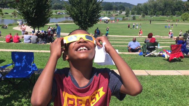 Cameron Youngblood of Fort Campbell had a blast watching the solar eclipse at Liberty Park on Monday.