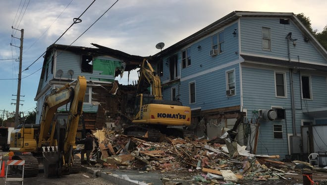 The Shipwrecked Brewpub, Egg Harbor, was destroyed by an electrical fire Aug. 20. The building was razed Wednesday, Sept. 27, 2017, to make way for a new facility to open in 2018.