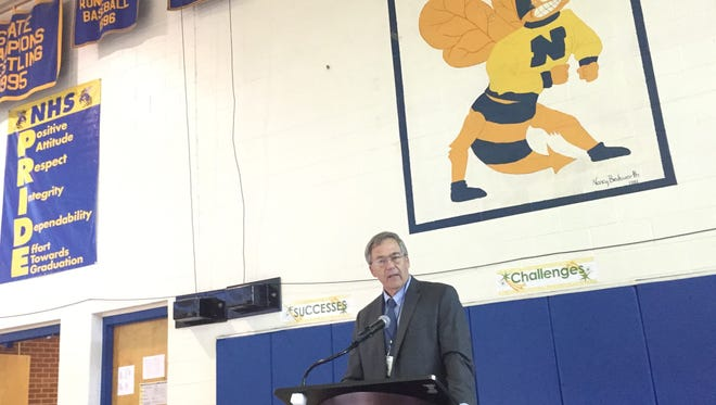 School Superintendent Charles E. Lawrence speaks during the first annual State of the Schools Community Forum in Eastville, Virginia on Tuesday, Oct. 17, 2017. The forum was sponsored by the Northampton County Education Foundation.