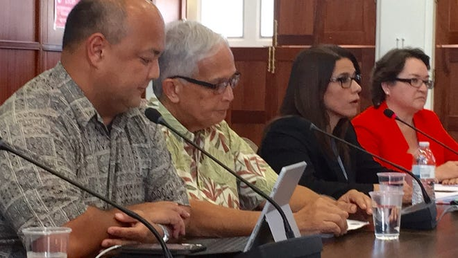 From left, Education Superintendent Jon Fernandez, University of Guam President Robert Underwood, Department of Administration Director Christine Baleto, and Guam Community College President Mary Okada, take turns answering questions from Speaker Benjamin Cruz and other senators during an oversight hearing on DOA's cash releases to education agencies on Tuesday Oct. 31, 2017.